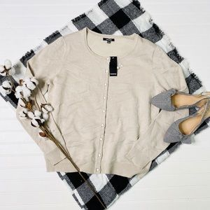 Premise Light Beige Button Up Cardigan Sweater